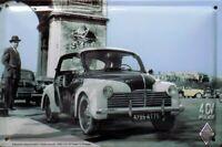 PLAQUE METAL vintage RENAULT 4 CV police - 30 x 20 cm