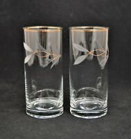 VINTAGE PAIR OF ETCHED GLASS TUMBLERS CLEAR LEAVES GOLD