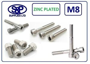 M8 Cap Head Socket Screw Allen Bolt Steel Grade 12.9 Zinc Plated DIN912 8MM/8mm