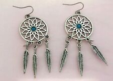 Large Detailed Silver Plated Dream Catcher Aqua Stone Spirit Bohemian Earrings