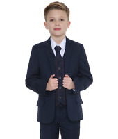 Boys Suits Boys Check Suits, Page Boy Wedding Prom Formal Suit, Boys Navy Suit C