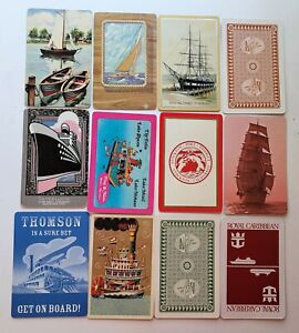Vintage Lot of BOATS SHIPS Swap Cards - 12 SINGLE Swap Trading Playing Cards