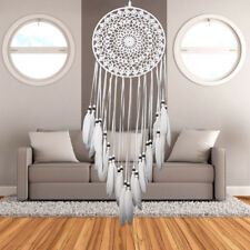 Handmade White Decorative Feather Dream Catcher Home Wall Car Hanging Craft Gift