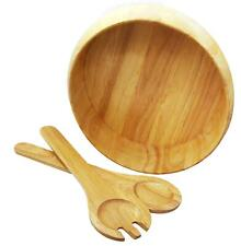More details for large 3pc salad serving set wooden bowl fork and spoon fruit veggies bread bbq