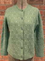 Green 100% Lambs Wool Cable Knit Cardigan Women's Sweater Appleseed's Petite M