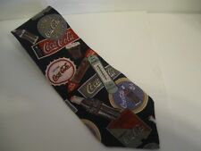 Men's Tie Coca-Cola Coke Retro Fountain Service Signs Soda Pop Bottle Black