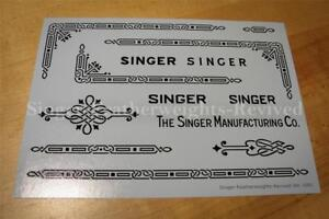 SINGER FEATHERWEIGHT BLACK  *PRE TRIMMED* DECALS FOR  221 - SILK SCREEN PRINTED