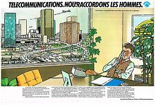 Publicité Advertising 1977 (2 pages) Les télécommunications
