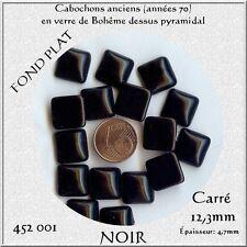 452001*** 5 CABOCHONS ANCIENS VERRE BOHÊME CARRÉS 12,3mm NOIR