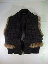 Guess Jeans Authentic Petite Small Black Fluffed Vest Jacket Fur Decoration Arm