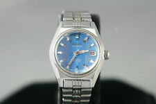 Womens Vtg Seiko Hi-Beat Date Automatic 600144 Blue Dial 17 Jewels Stainless