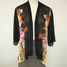 NEW NWT Citron Clothing Plus Size Birds Floral 100% Silk Open Cardigan Blouse 3X
