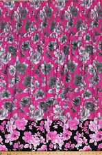 Pre-Smocked Shirred Sundress Fabric Print - Floral Roses Rose Pink Gray A415.03