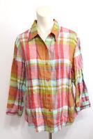 Coldwater Creek Womens Plaid Red Green Yellow Linen Blend Blouse Shirt Size L