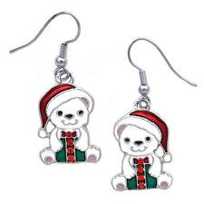 Christmas Santa Hat Polar Bear Dangle Charm Earrings Holiday Jewelry Gift