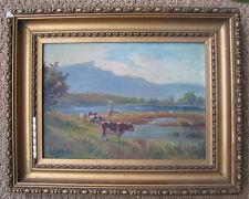 Peintre Russe, D Petroff ? Paysage aux Vaches. A voir. 1926