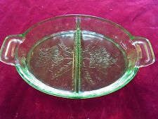 1930'S DEPRESSION JEANNETTE  FLORAL POINSETTIA  2 PART HANDLED GREEN RELISH DISH