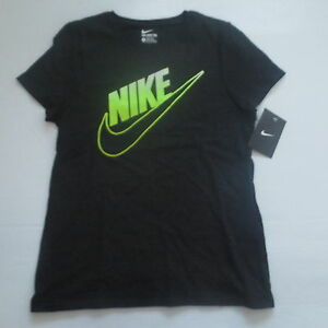 Nike Girls Swoosh Athletic Cut Shirt 885095 - Black 010 - Size S - NWT