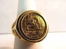 14K Solid Yellow Gold with .999 24K 1989 Chinese 5 Yuan Coin--Size 6.5-- #850