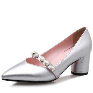Women Chic Excellent Quality Med Heels Pointed Toe Lolita Pumps Shoes Size 33-43