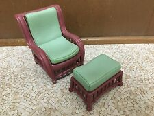 Barbie Doll Faux Bamboo Wood Chair Ottoman Living Room Outdoor Furniture