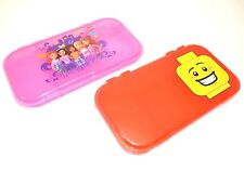 Set of (2) LEGO MiniFigure RED & PINK Friends Storage Case Plastic Box Clutch