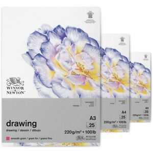 Winsor & Newton 220gsm Drawing Pad-Smooth Surface sold individually:A5, A4 OR A3