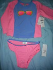 Baby Gap Nwt Girl 2 yrs 2-pc pink blue Ls sunglasses top bathing suit swimwear