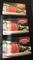 OMAHA STEAKS GIFT CARDS - 3 CARDS - TOTAL VALUE 250.00 NOT AN E CARD - SAVE BIG