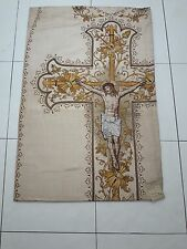 Antique French Jesus Crucifixion Vestment Chasuble Priest Panel 1920's