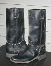 FRYE SMITH HARNESS TALL US 7.5 Woman's Motorcycle Boot Black Stonewash