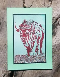 5 Handmade Bison of the Grasslands Cards Notecards Buffalo American Sage Green