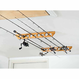 Old Cedar Outfitters Wooden Ceiling Horizontal Rod Rack, 9 Capacity
