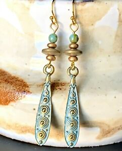 Etched Gold and Green Earrings. Patina.