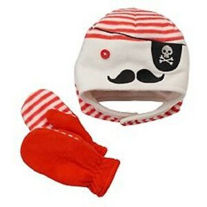Jumping Beans Pirate Fleece Cap Hat with Mittens Infant Boy 6-18 Months NEW