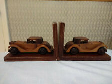 Old Veteran Car Wood Hand Carved Bookends Book Ends