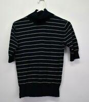 Eddie Bauer Women's Medium 1/2 Sleeve 100% Cotton Striped Turtleneck Sweater