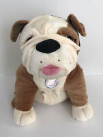 "Dave & Busters Bulldog Dog Brown Plush Cream Stuffed Toy Factory 18"""