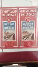 1939 New York World Fair Tomorrow Timetable Pennsylvania Railroad PRR Maps RR