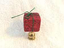 Red Glitter Christmas Present Lamp Finial
