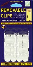 Removable Clear Adhesive Decorating  Wall Clips Hooks Large  No Wall Damage