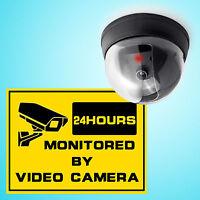 Dummy Fake Surveillance CCTV Security Dome Camera Flashing Red LED Light Sticker