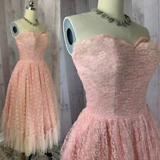 1950s Vintage Prom Dress/Gown~ALFRED ANGELO~Cupcake Pinup Rockabilly Lace XS/Sml
