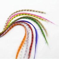 10pcs Grizzly plumes synthétiques extensions de cheveux 16 pouces de long #EEH