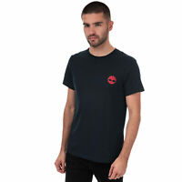 Mens Timberland Core Back Logo T-Shirt In Navy- Short Sleeve- Ribbed Collar-