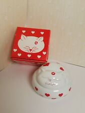 Vintage Takahashi Cat Heart Love Me Love My Cat Trinket Dish Jar With Box Japan