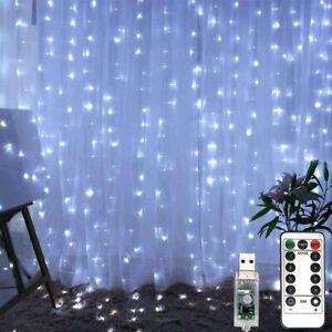 300 LED Lichtervorhang Lichternetz Lichterkette Weihnachten Garten Innen Außen