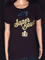 Carolina Panthers Super Bowl 50 NFL Football Womens Size Large L Black T-shirt