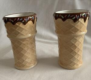 "(2) ONEIDA ICE CREAM CONE CUPS GLASSES WAFFLE CONE SPRINKLES CHOCOLATE 6"" tall"