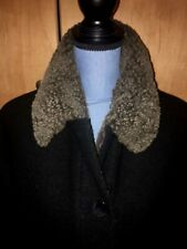 HILARY RADLEY Coat 8P In Great condition Black Lined Cuffs & Collar Faux Fur